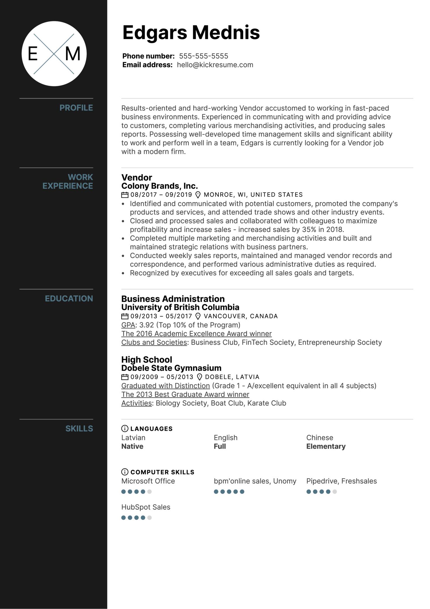 Vendor Resume Example (Teil 1)