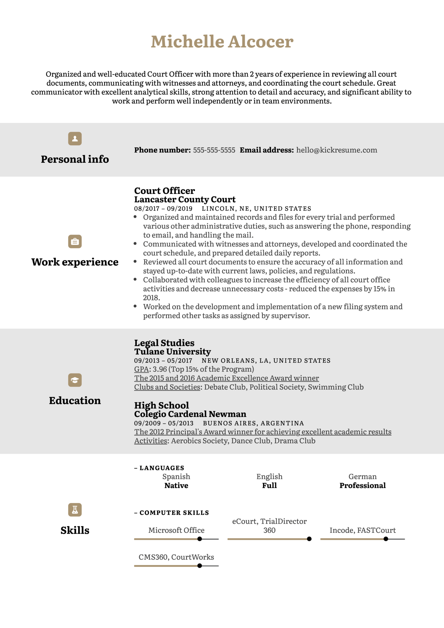 Court Officer Resume Example (Parte 1)