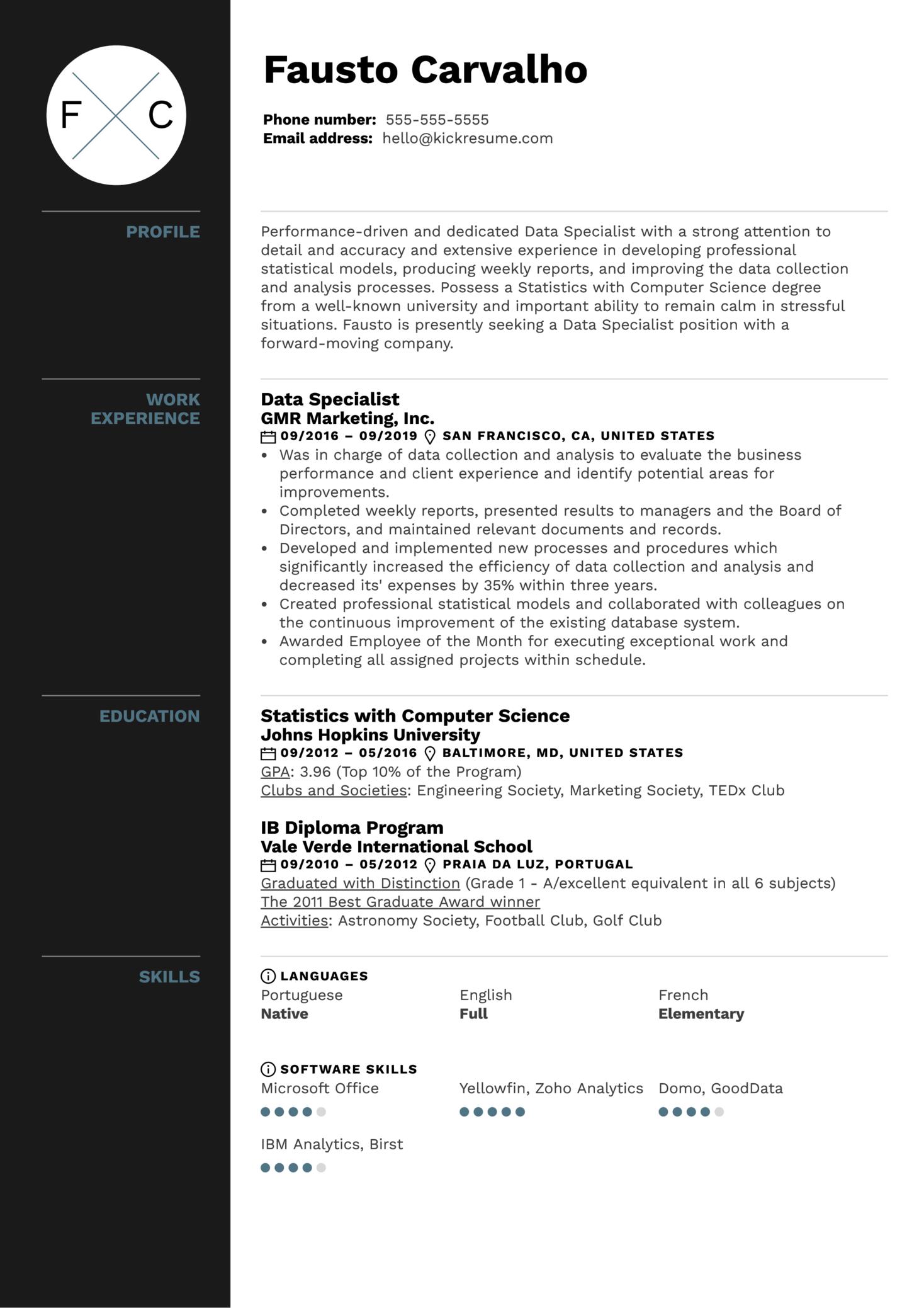 Data Specialist Resume Example (parte 1)