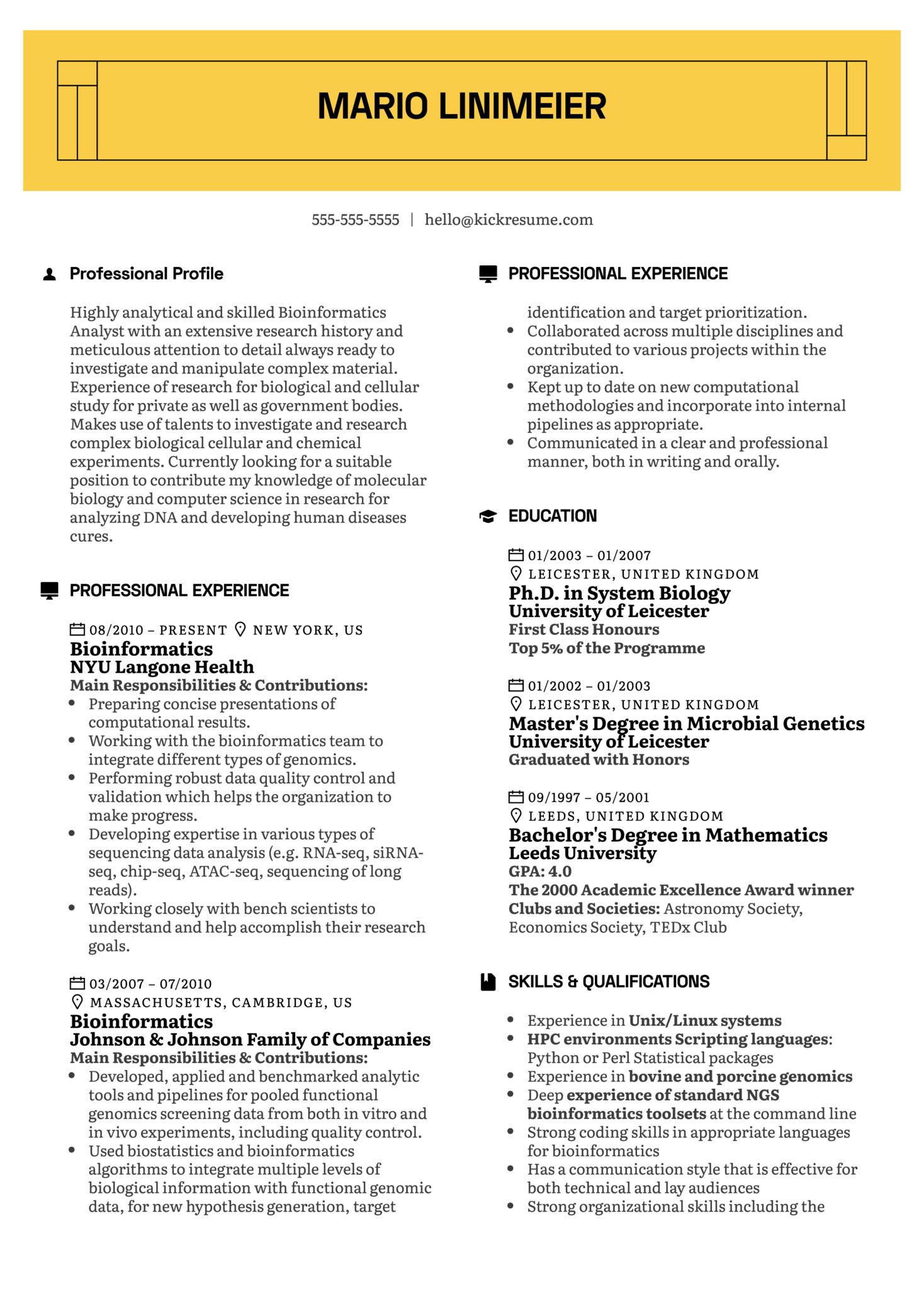 Bioinformatics Resume Example (parte 1)