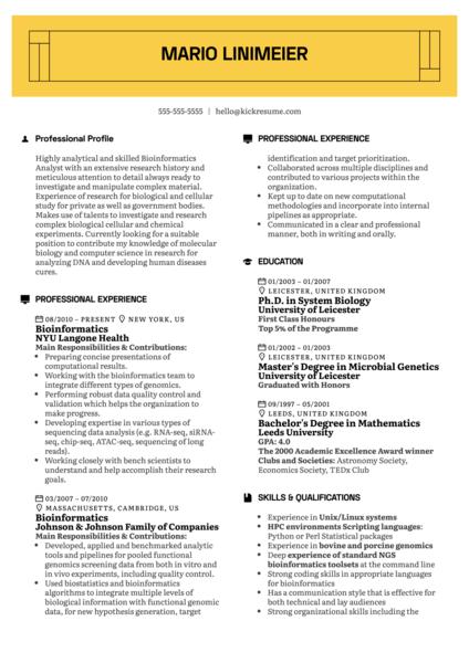 Bioinformatics Resume Example