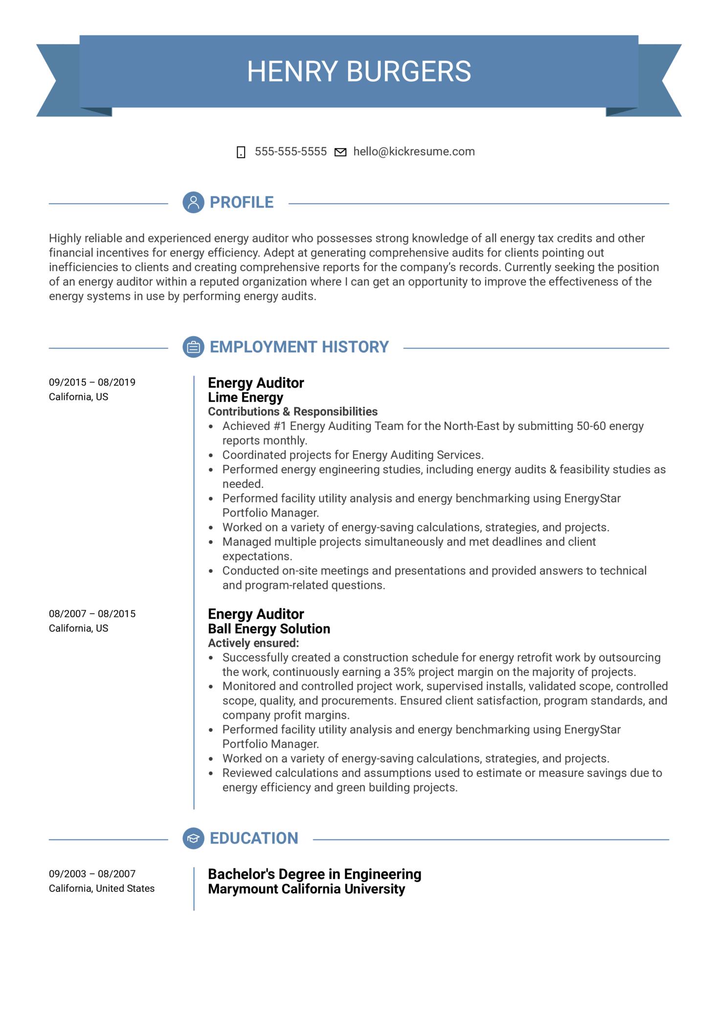 Energy Auditor Resume Sample (Part 1)