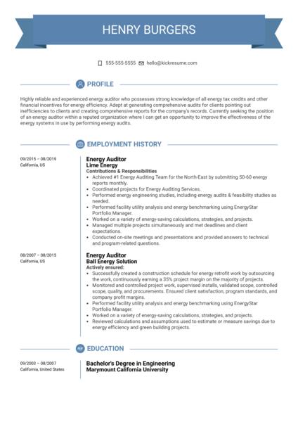 Energy Auditor Resume Sample