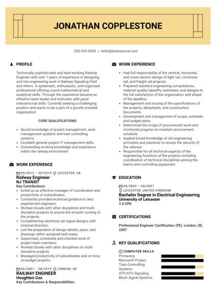 Railway Engineer Resume Sample
