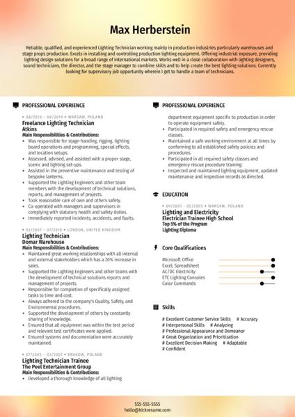 Freelance Lighting Technician Resume Example