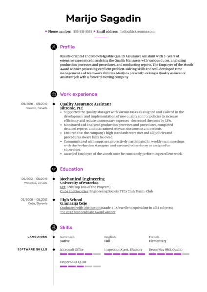 Quality Assurance Assistant Resume Example