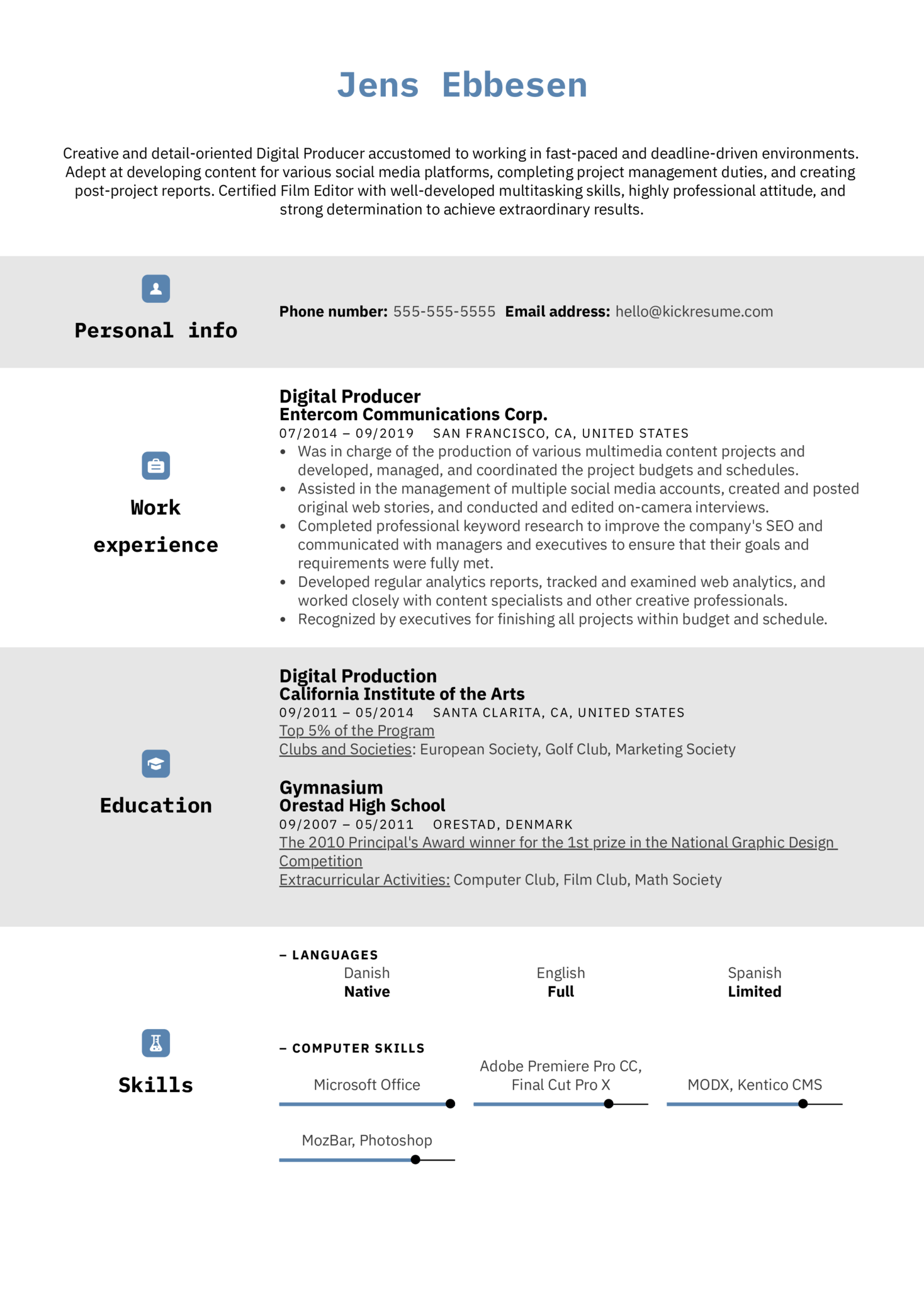 Digital Producer Resume Sample (Teil 1)