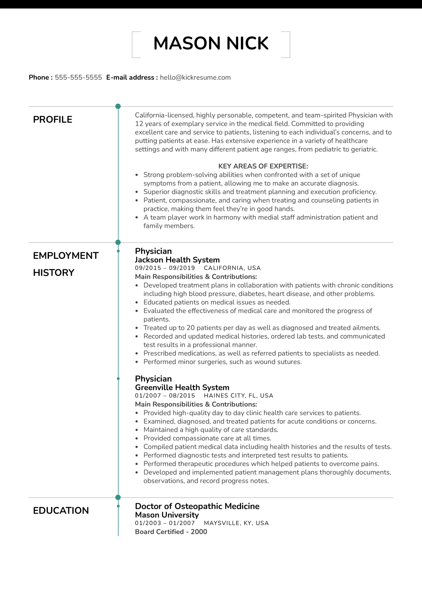 Physician Resume Example (Teil 1)