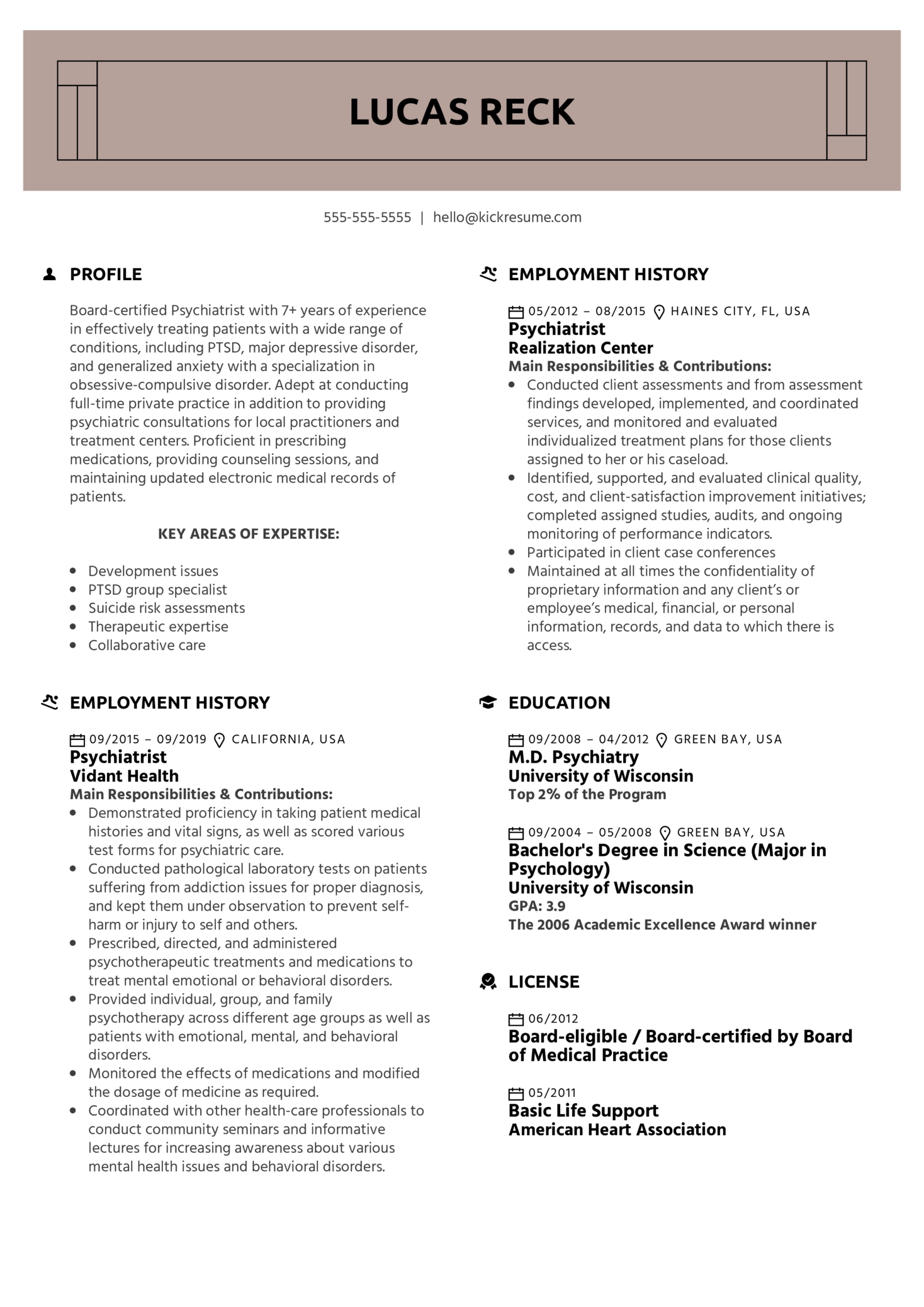 Psychiatrist Resume Example (Teil 1)