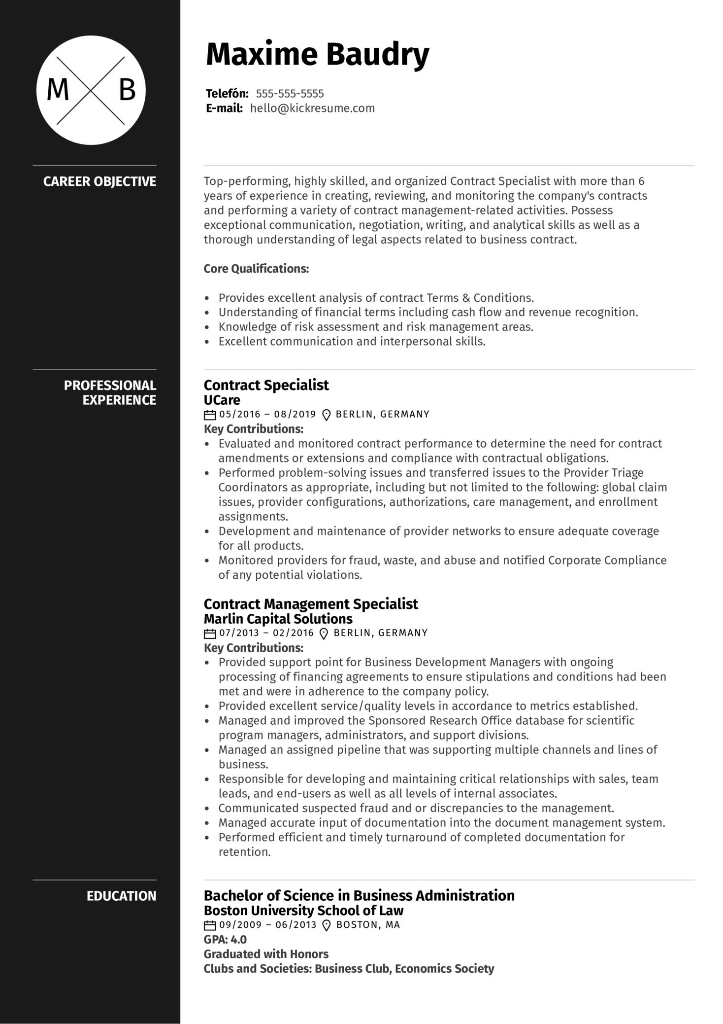 Contract Specialist Resume Example (časť 1)