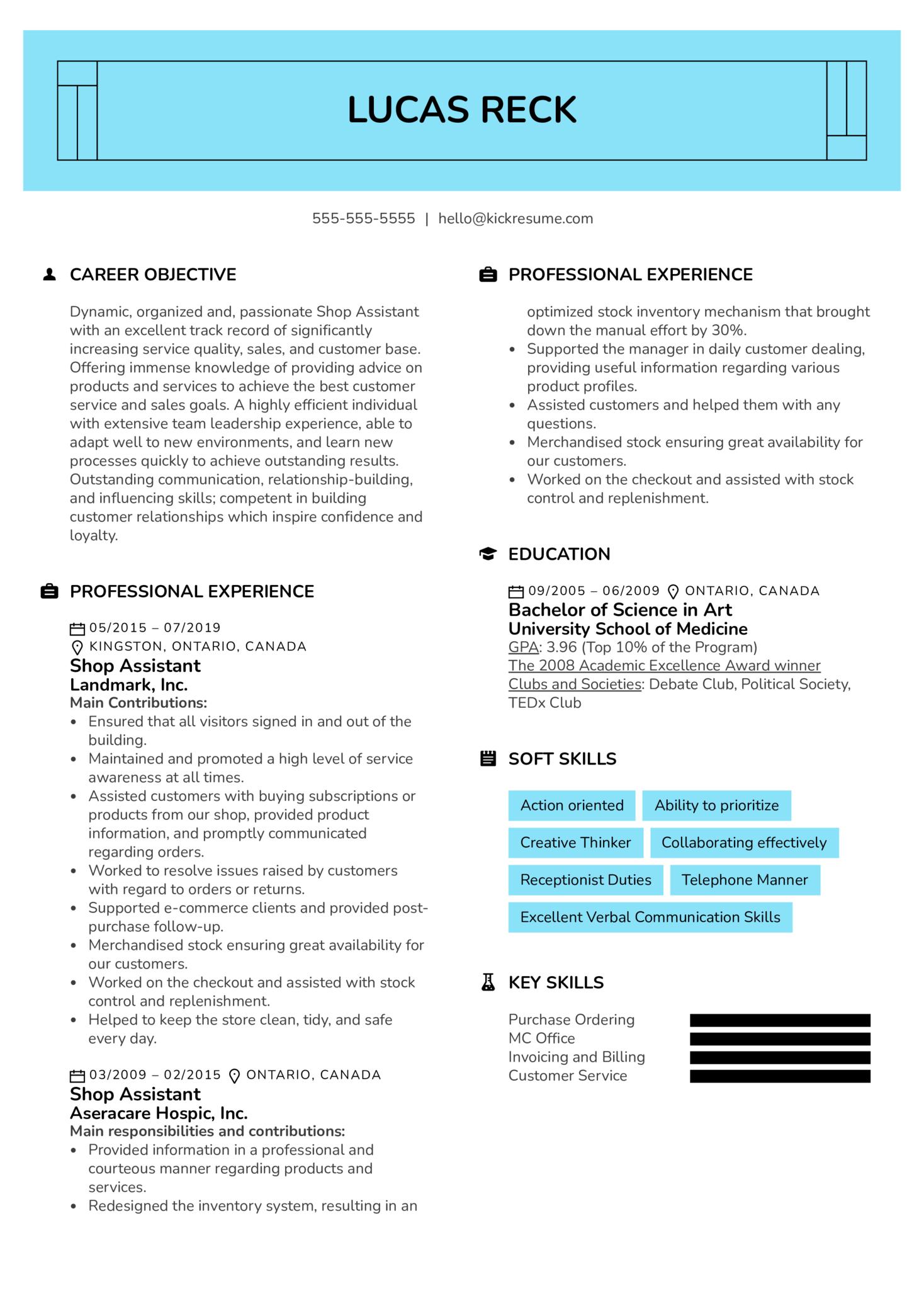 Shop Assistant Resume Example (parte 1)