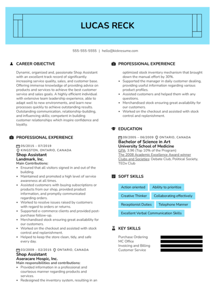 Shop Assistant Resume Example