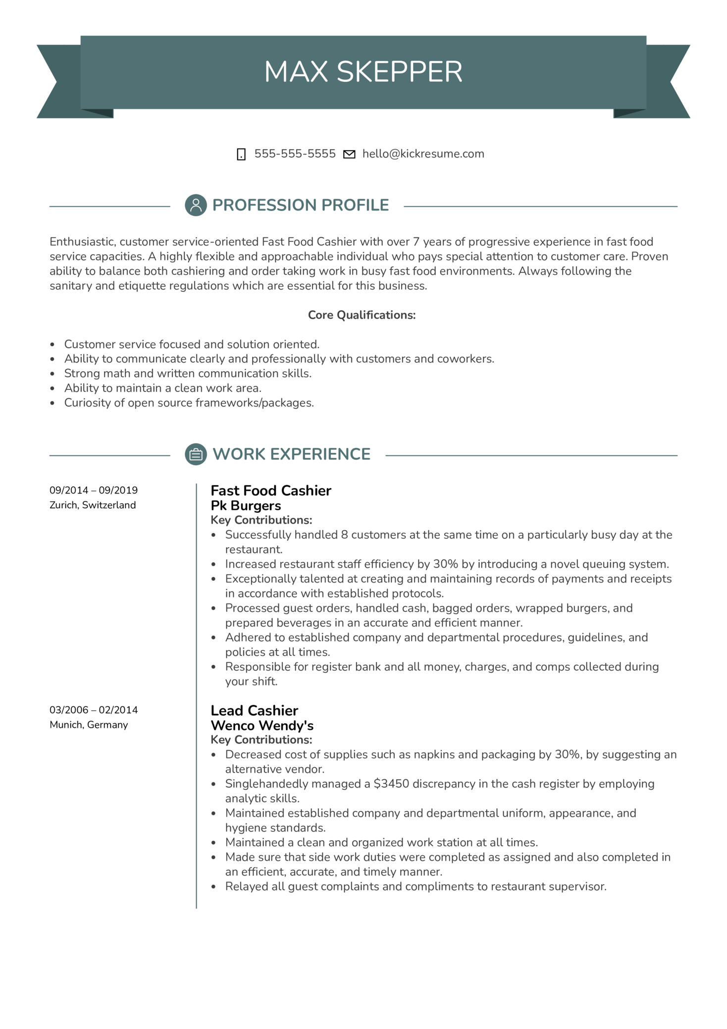 Fast Food Cashier Resume Example (Part 1)