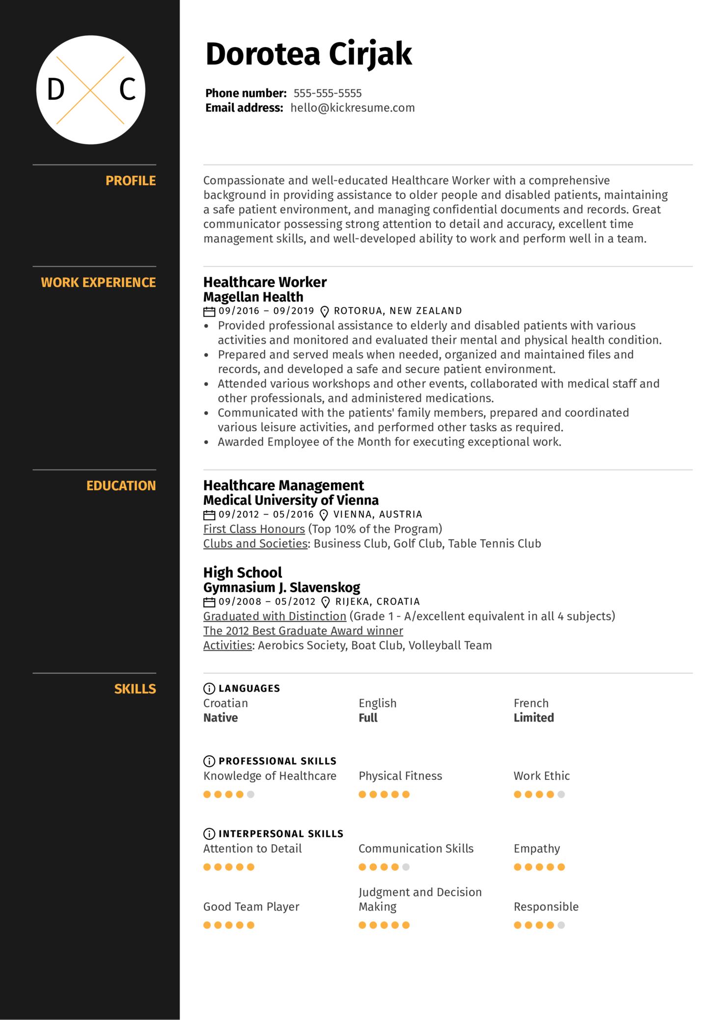Healthcare Worker Resume Sample (Part 1)