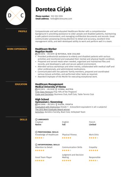 Healthcare Worker Resume Sample