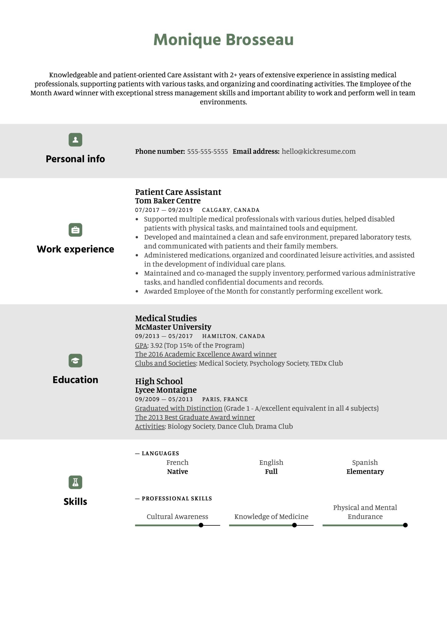 Care Assistant Resume Sample (Teil 1)