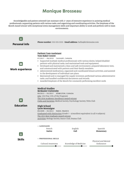 Care Assistant Resume Sample