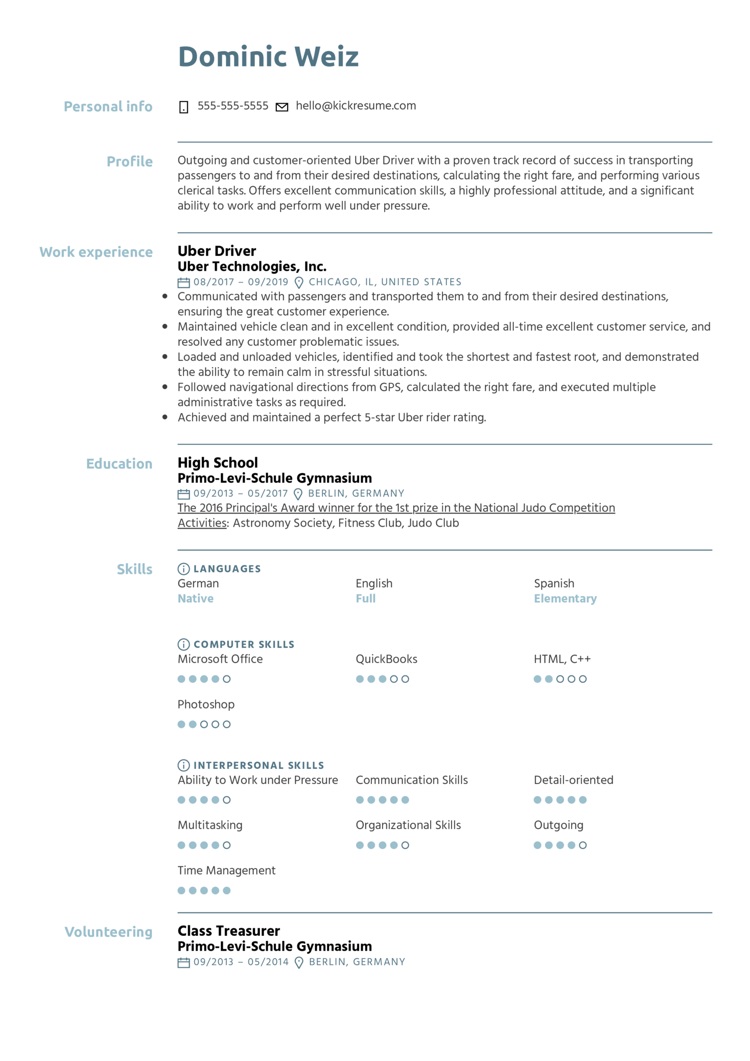 Uber Driver Resume Example (Teil 1)