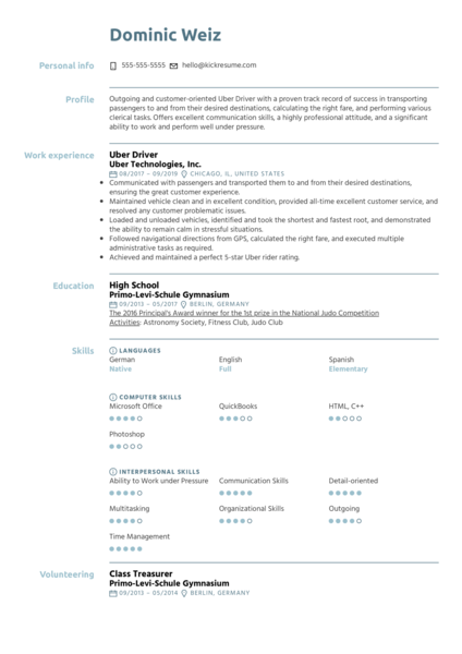 Uber Driver Resume Example