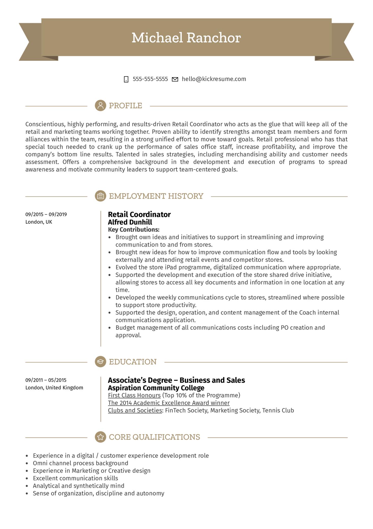 Retail Coordinator Resume Sample (parte 1)