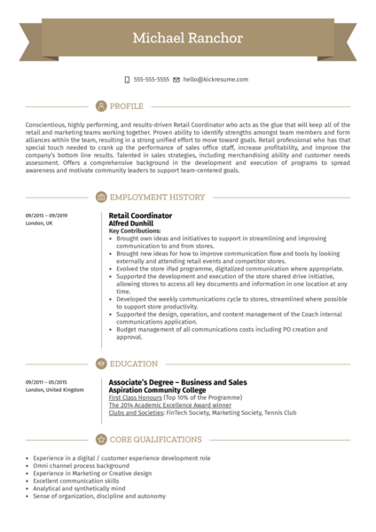 Retail Coordinator Resume Sample