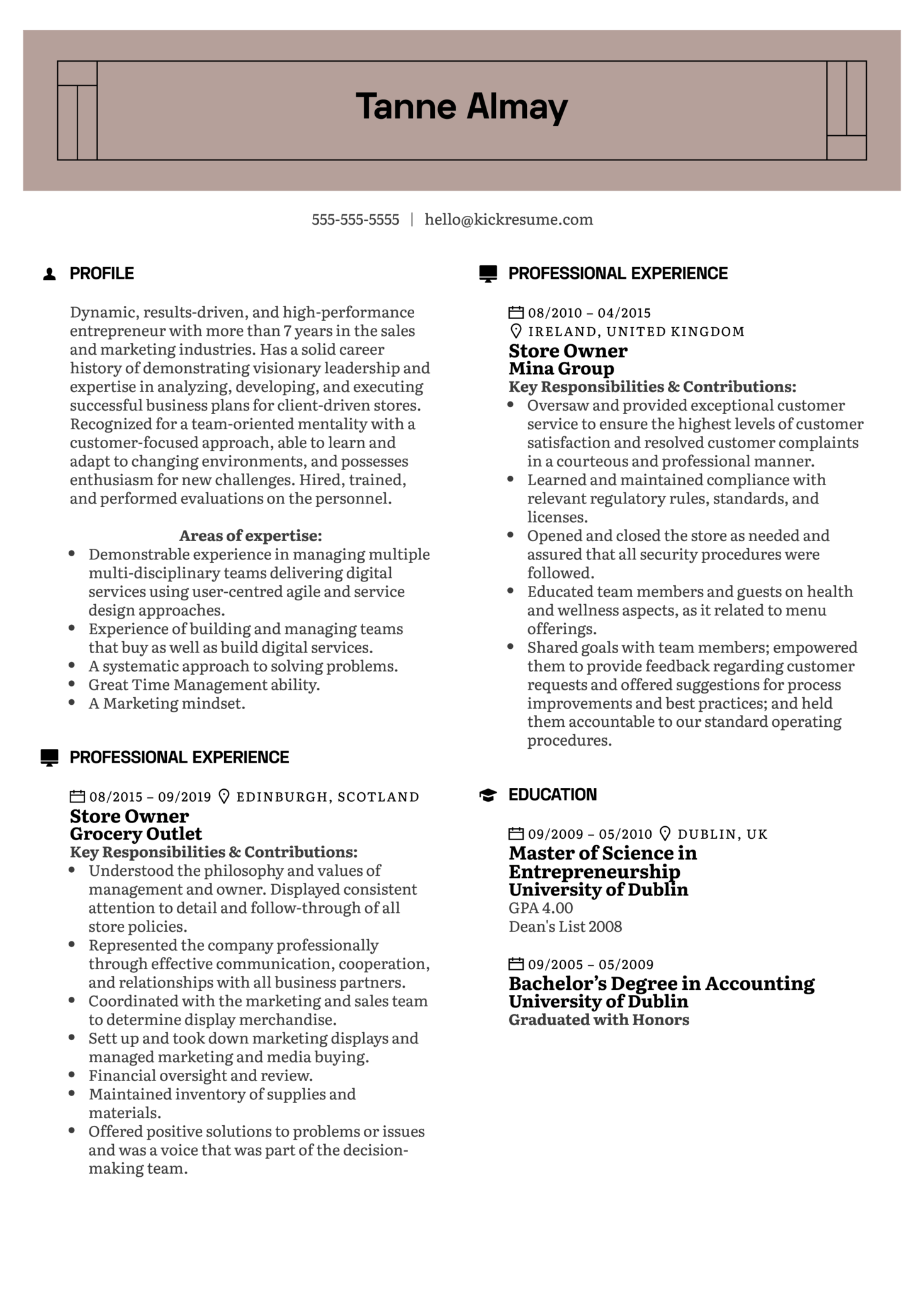 Store Owner Resume Example (Part 1)
