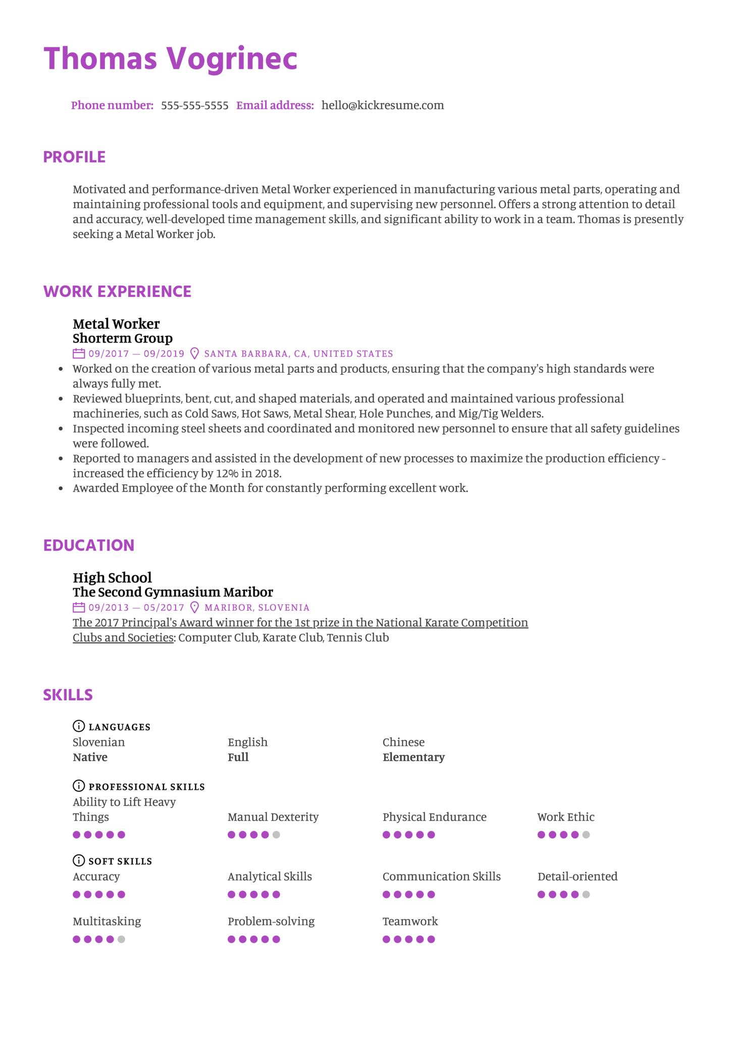 Metal Worker Resume Example (parte 1)