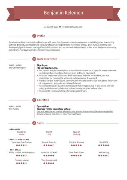 Pipe Layer Resume Example