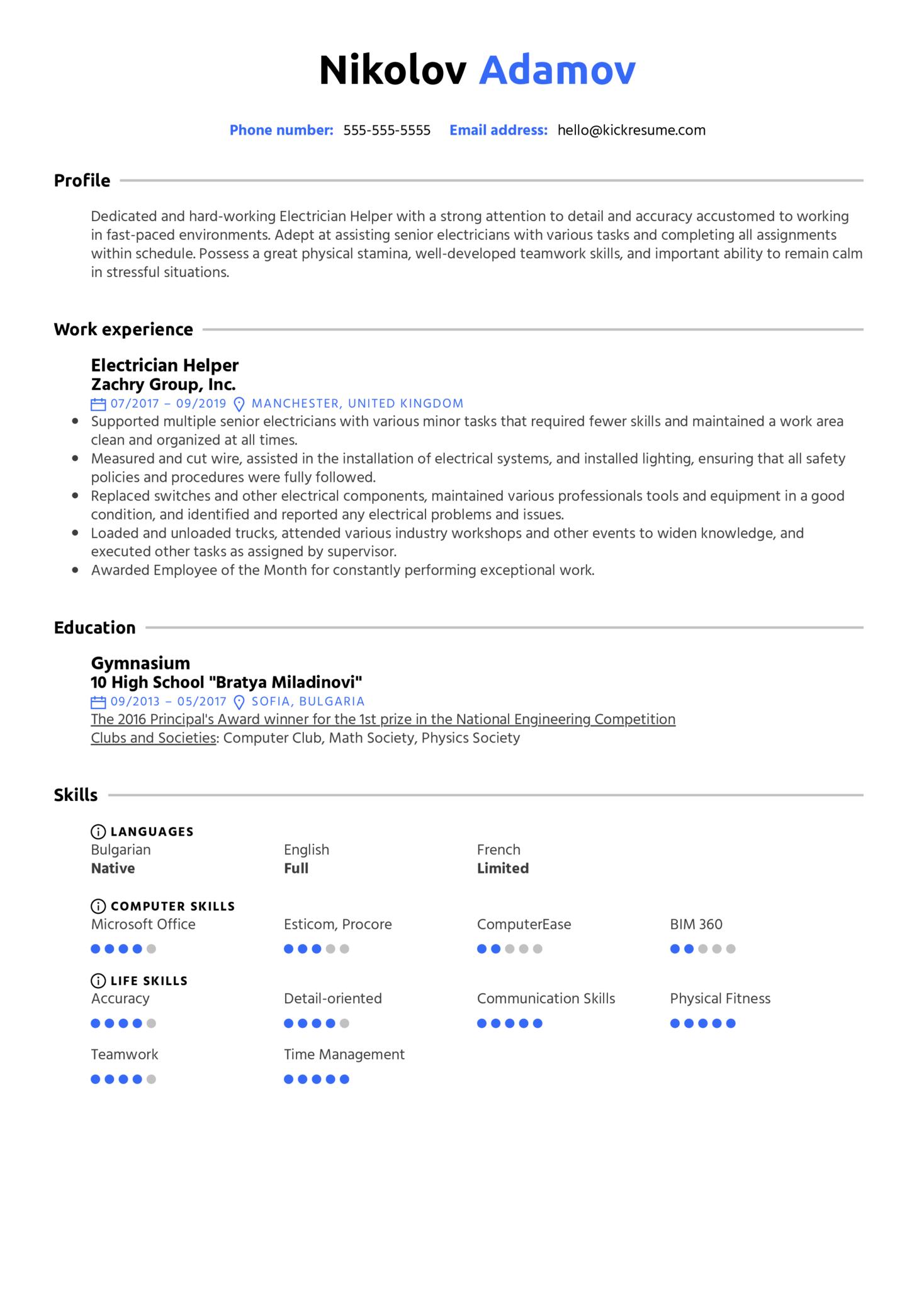 Electrician Helper Resume Sample (Part 1)
