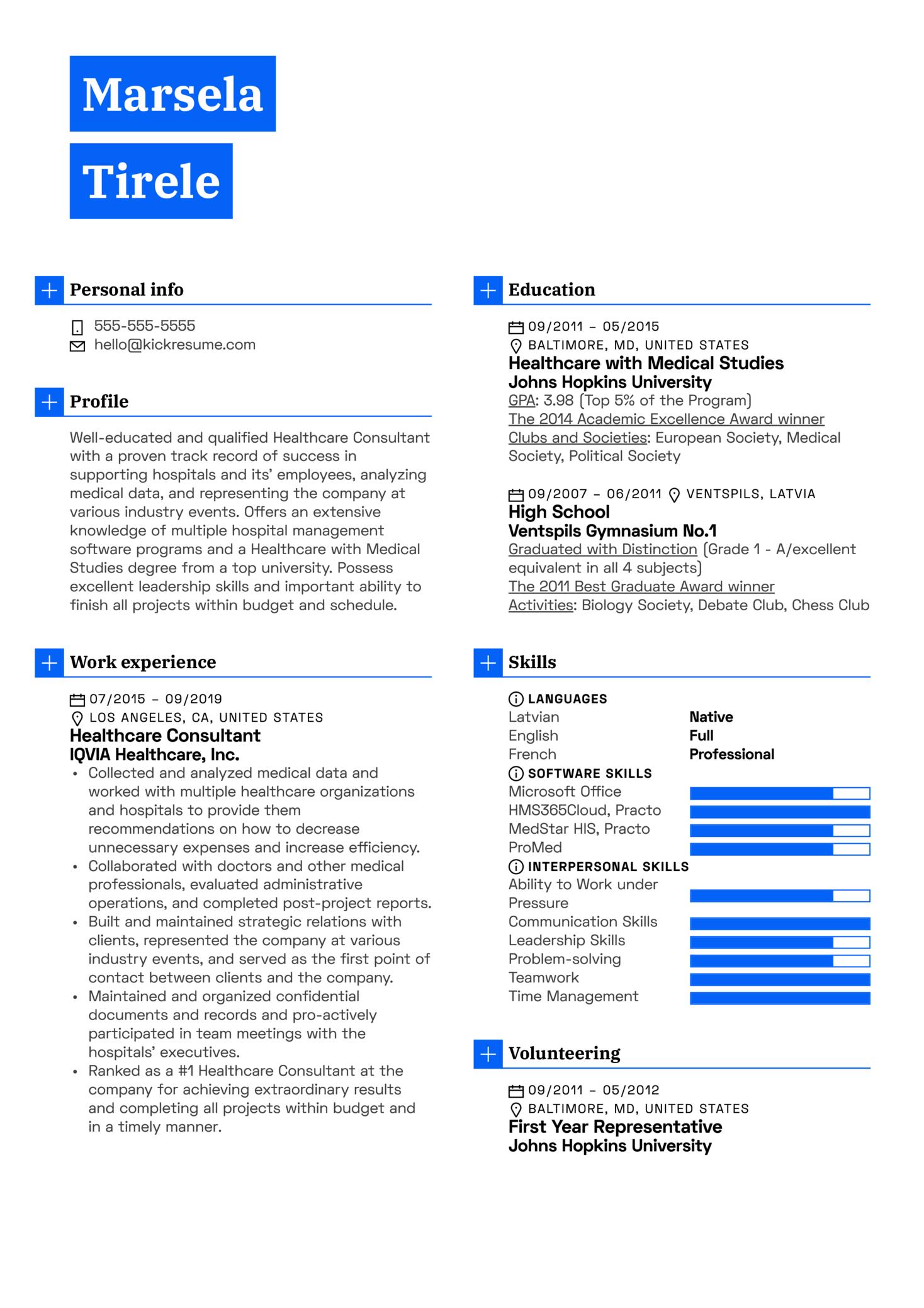 Healthcare Consultant Resume Example (parte 1)