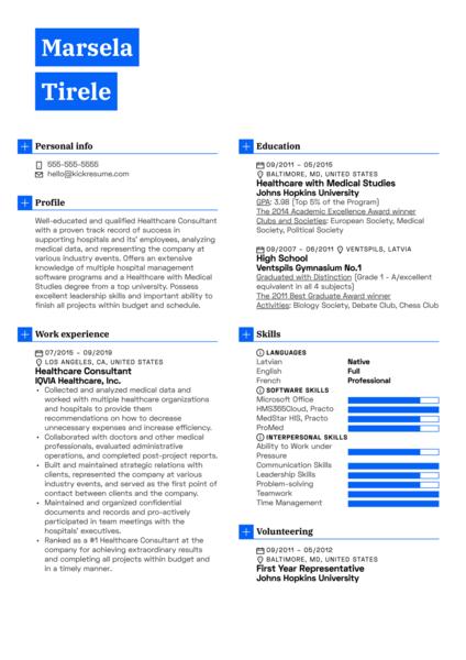 Healthcare Consultant Resume Example