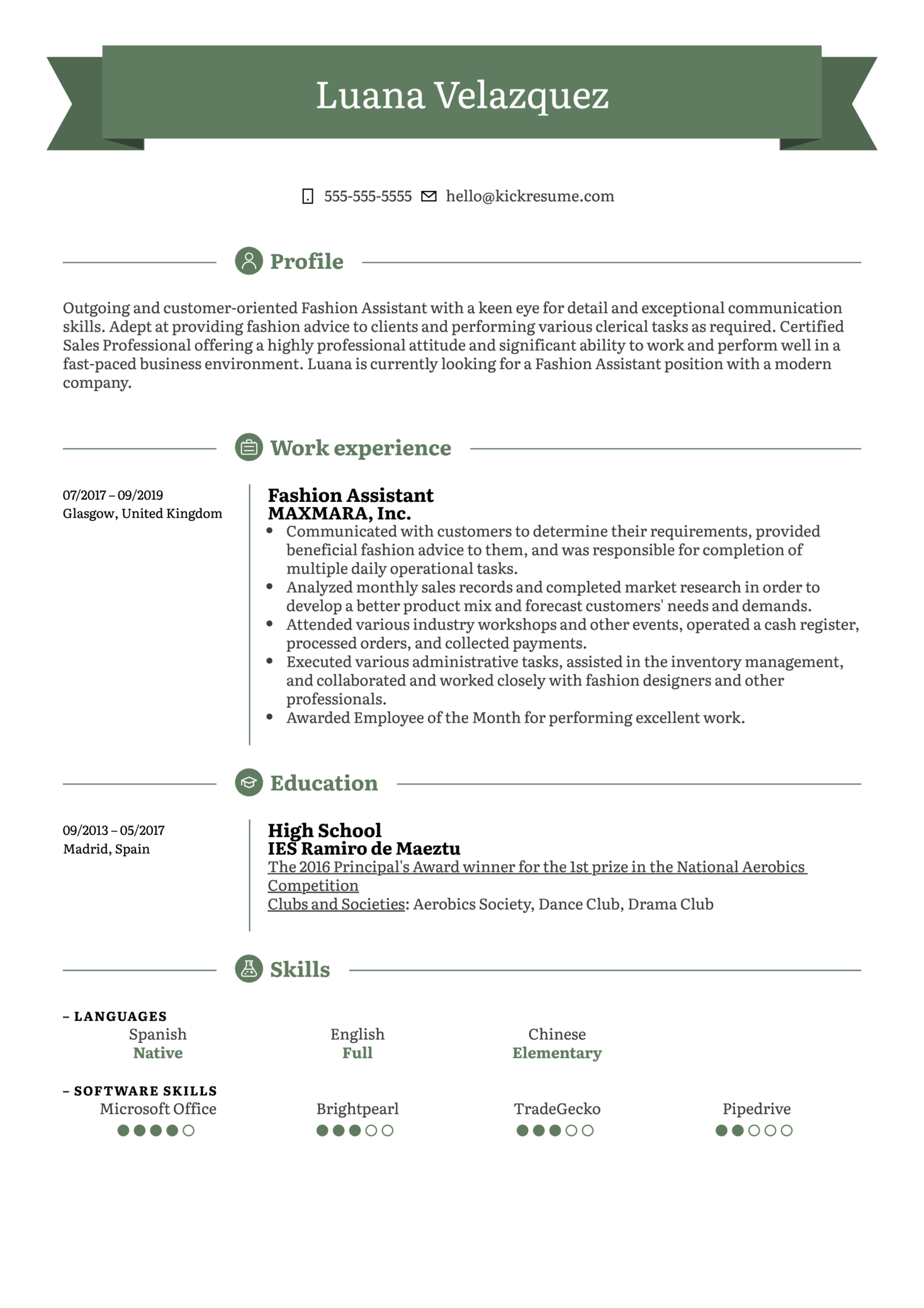 Fashion Assistant Resume Example (parte 1)