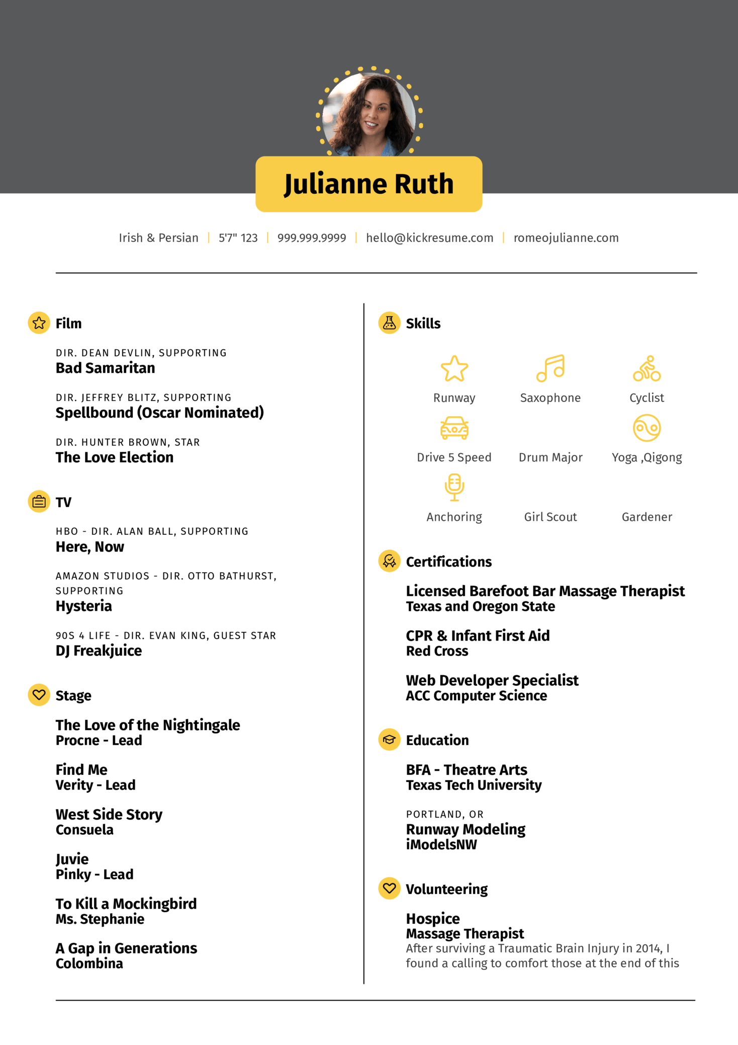 Acting Resume Template (Teil 1)