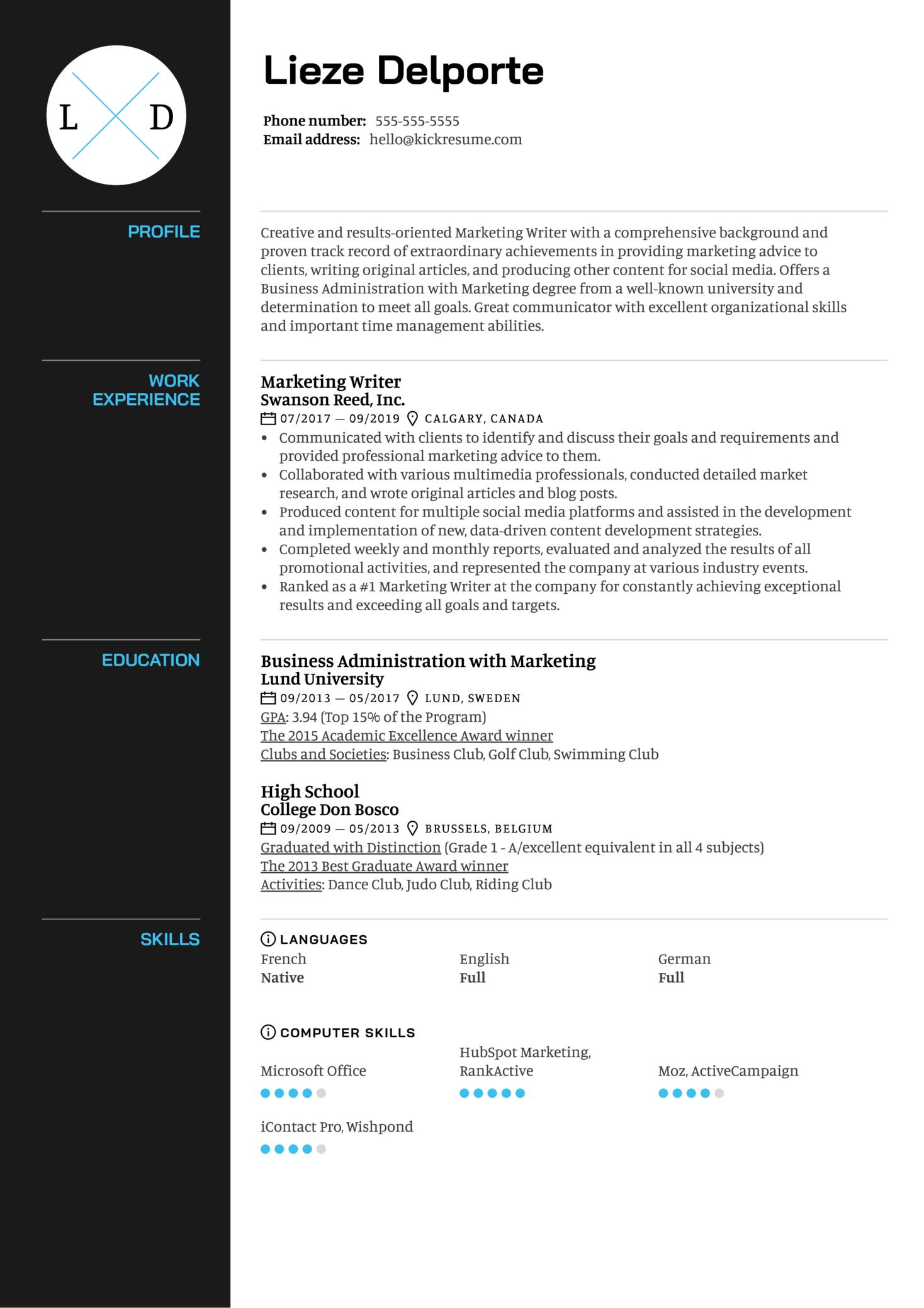 Marketing Writer Resume Sample (Part 1)
