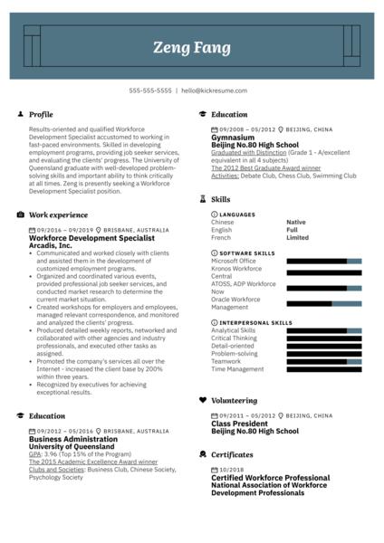 Workforce Development Specialist Resume Example