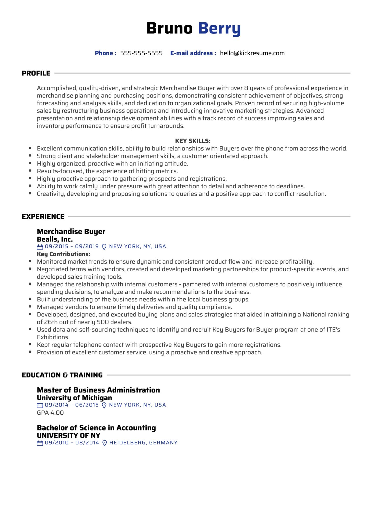 Merchandise Buyer Resume Sample (Part 1)