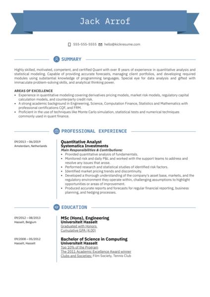 Quantitative Analyst Resume Sample