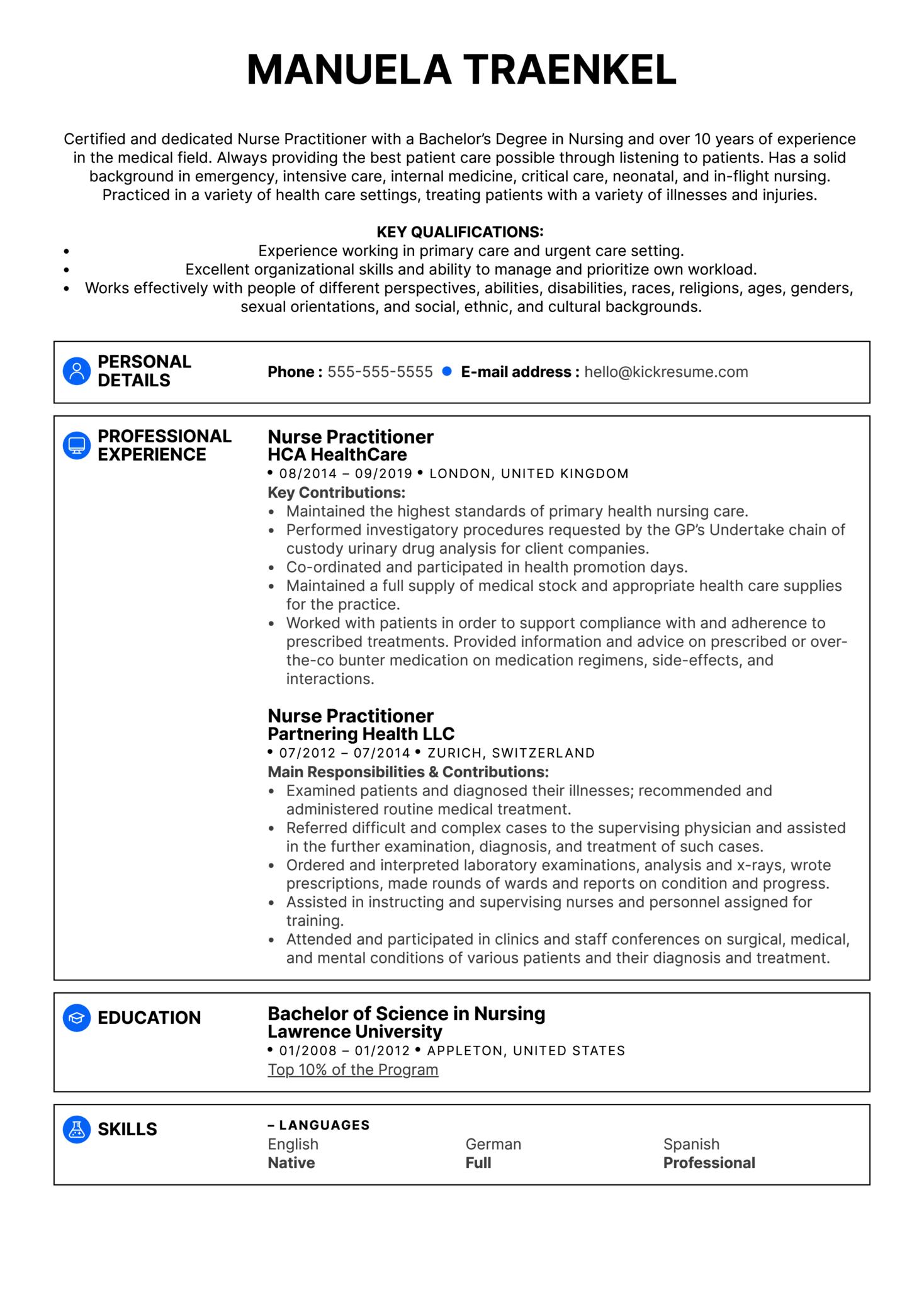 Nurse Practitioner Resume Example (Part 1)