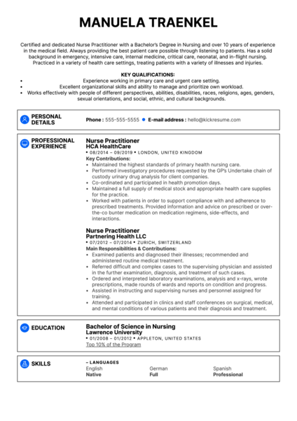 Nurse Practitioner Resume Example