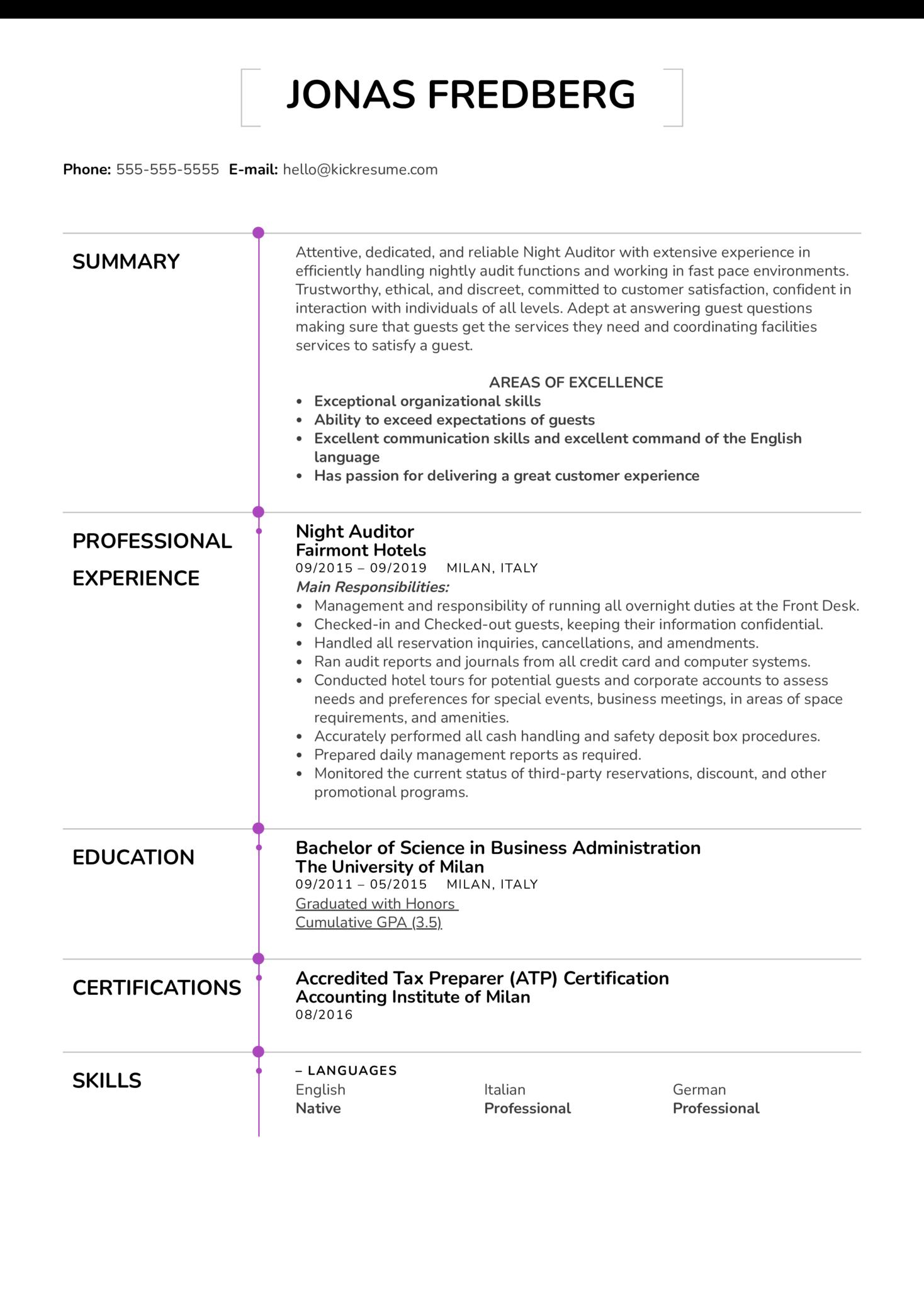 Night Auditor Resume Example (parte 1)