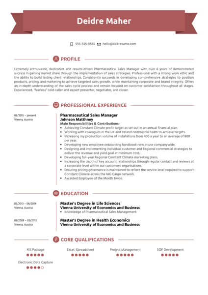 Pharmaceutical Sales Manager Resume Example