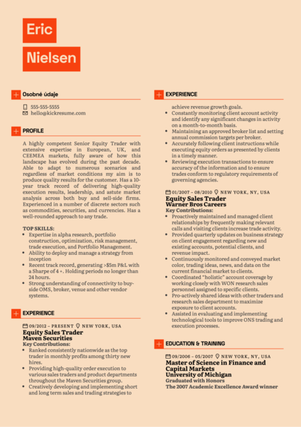 Equity Sales Trader Resume Example