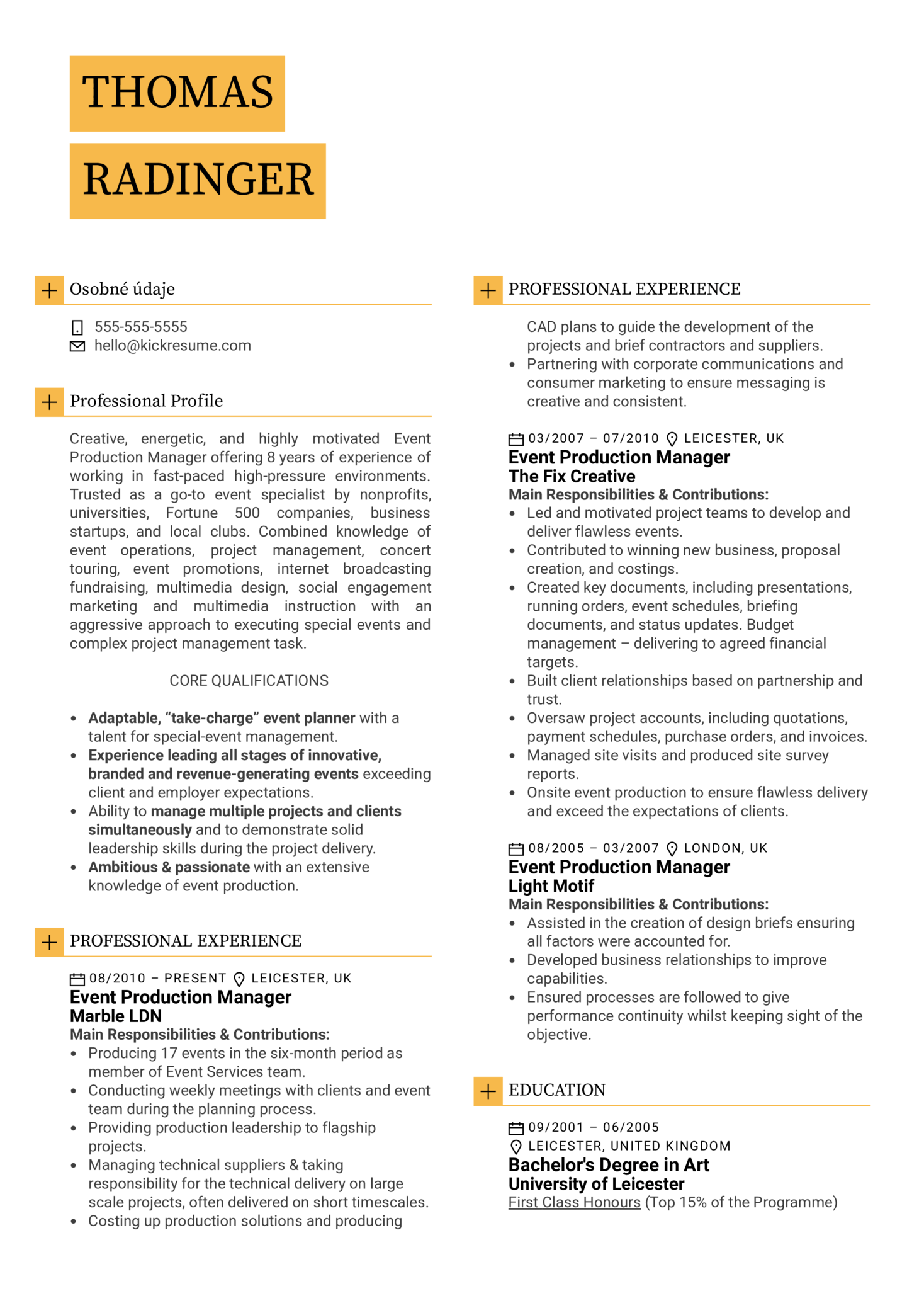 Event Production Manager Resume Sample (Parte 1)