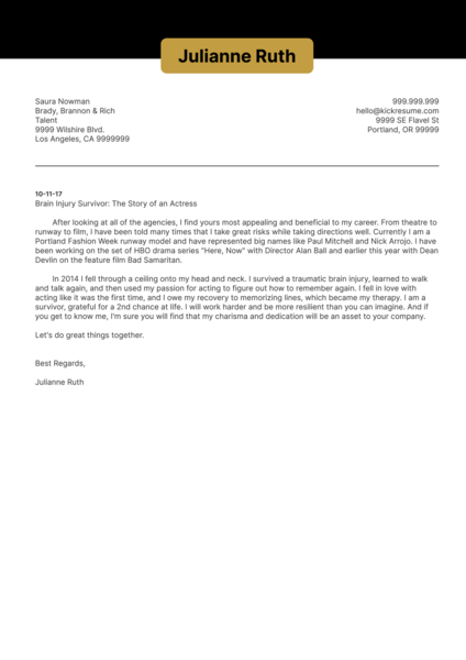 Acting Cover Letter Sample