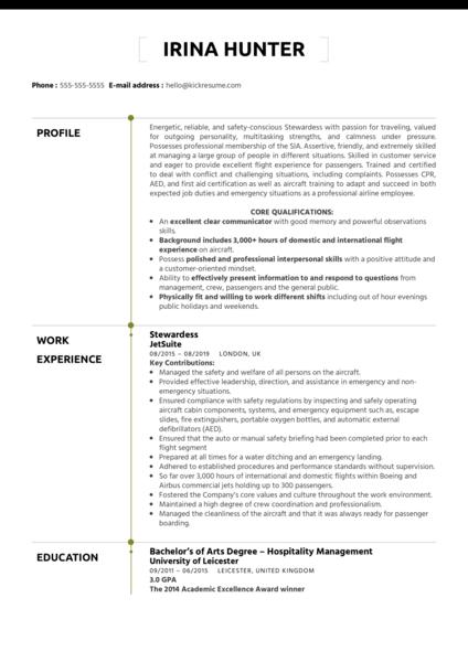 Stewardess Resume Example