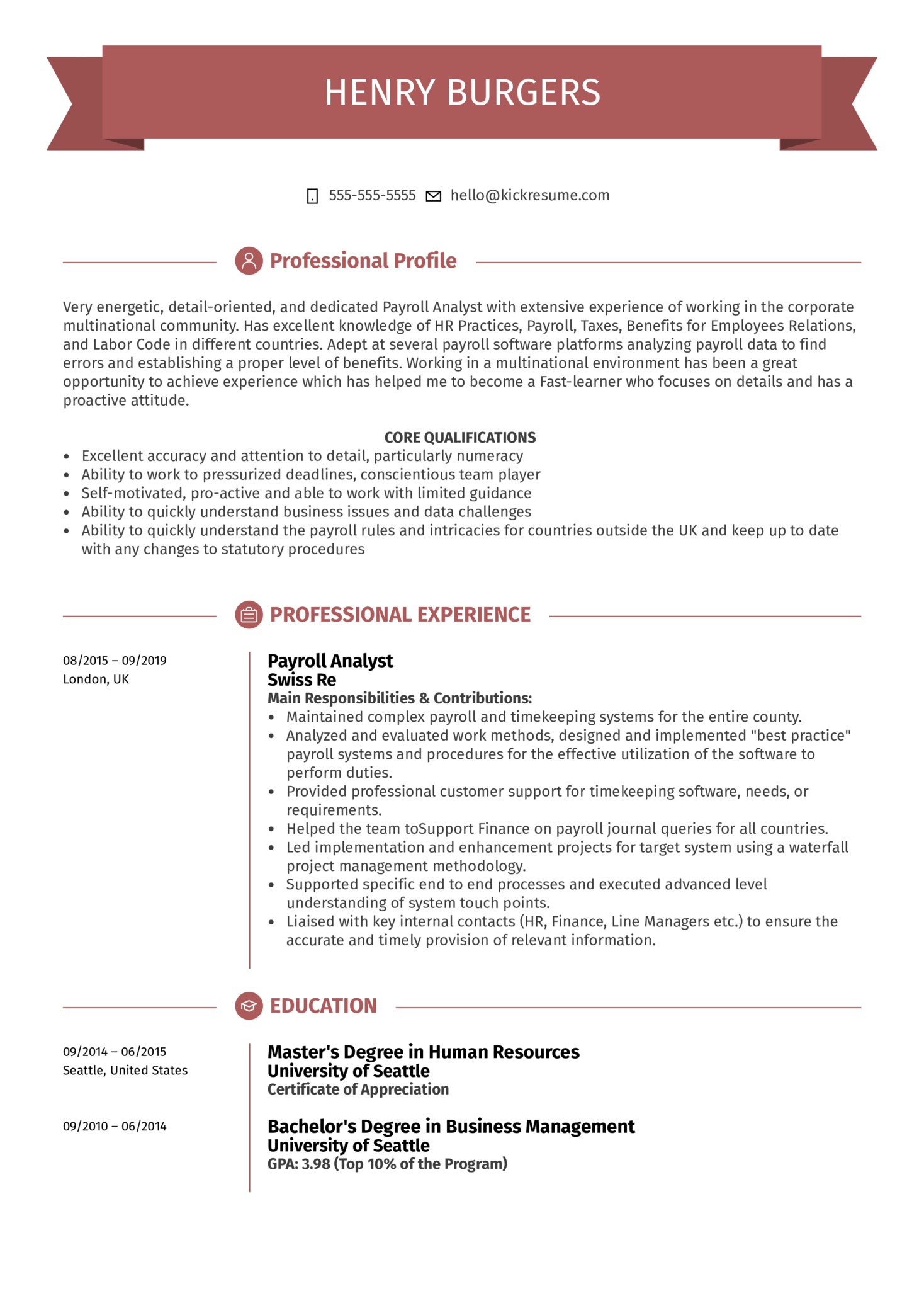Payroll Analyst Resume Example (parte 1)