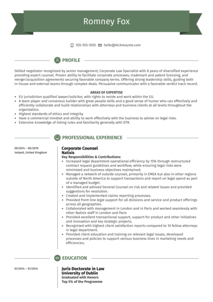 Corporate Counsel Resume Example