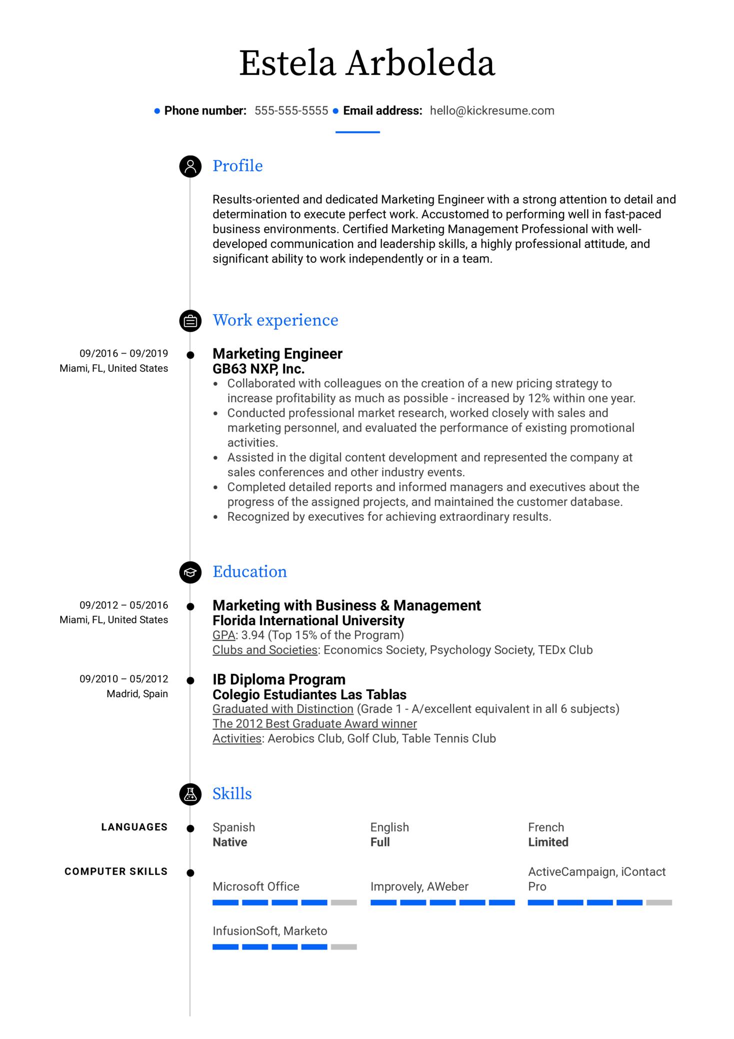 Marketing Engineer Resume Sample (Part 1)