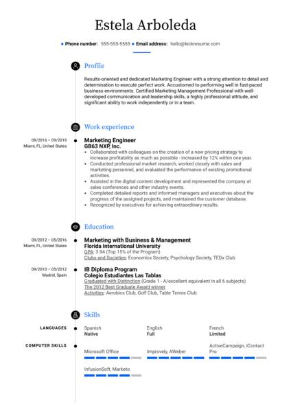 Marketing Engineer Resume Sample