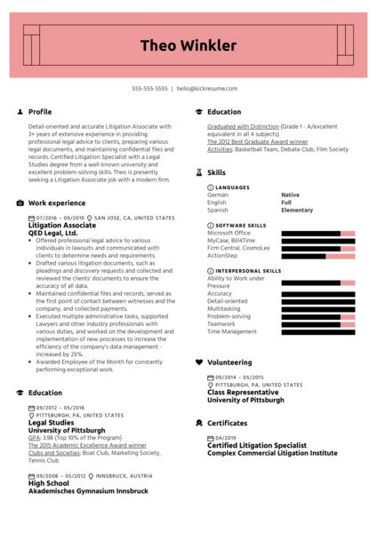 Litigation Associate Resume Example